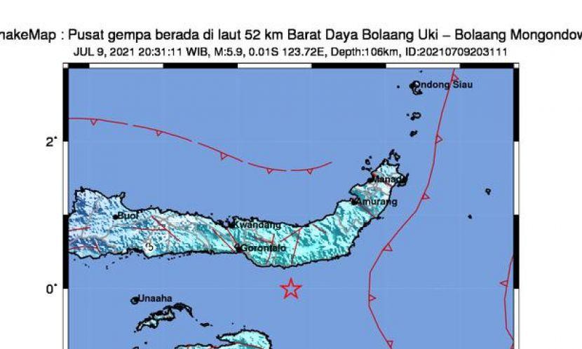 Gempa Magnitudo 5.0 Baru Saja Guncang Perairan Bolaangsuki Sulut