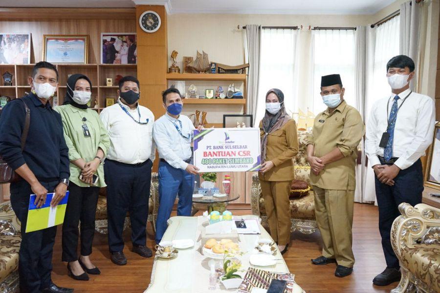 Pemda Luwu Utara Terima Bantuan 400 Paket Sembako dari Bank Sulselbar