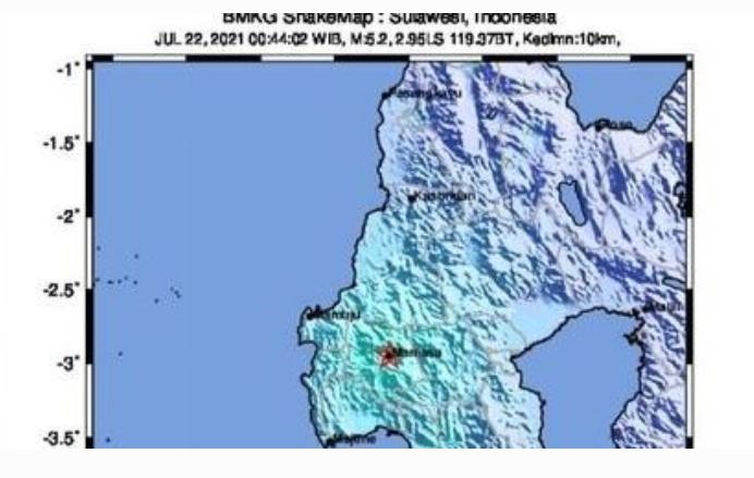 Mamasa Sulbar Diguncang Gempa Bumi M5,3, Terjadi Susulan 6 Kali