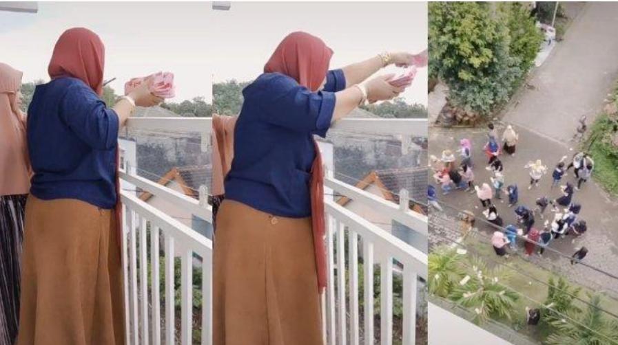 Viral ... Seorang Wanita Hamburkan Uang Ratusan Juta Pecahan @100 ribu Dari Atas Balkon