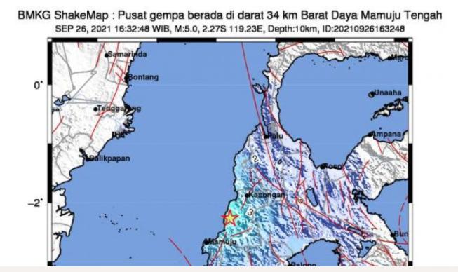 Mamuju, Sulbar Kembali Diguncang Gempa Magnitudo 5.0