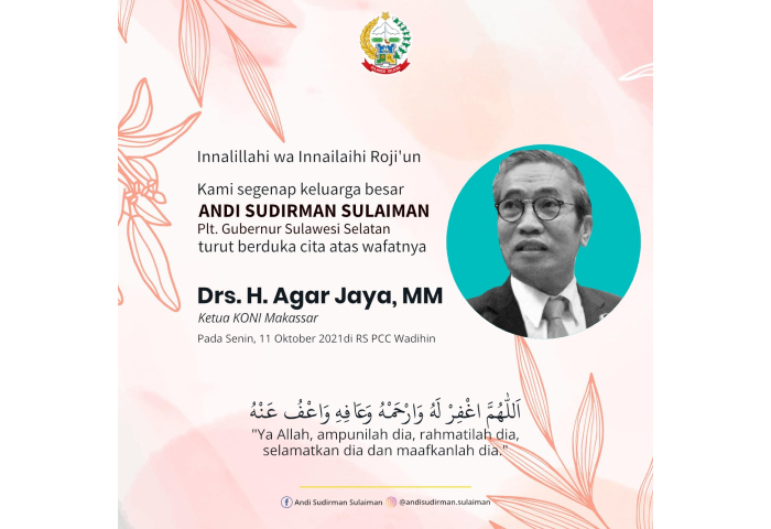 Plt Gubernur Sulsel, Andi Sudirman Ucapkan Belasungkawa Meninggalnya Ketua KONI Makassar